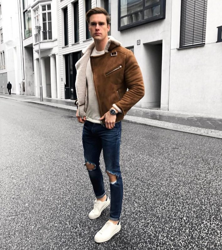 Brown suede shearling jacket, white t-shirt, blue ripped jeans, white sneaker 1