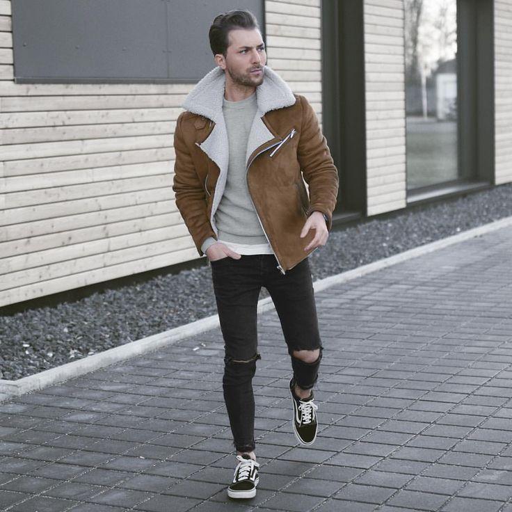 Brown suede shearling coat, gray t-shirt, black jeans, black sneaker 1
