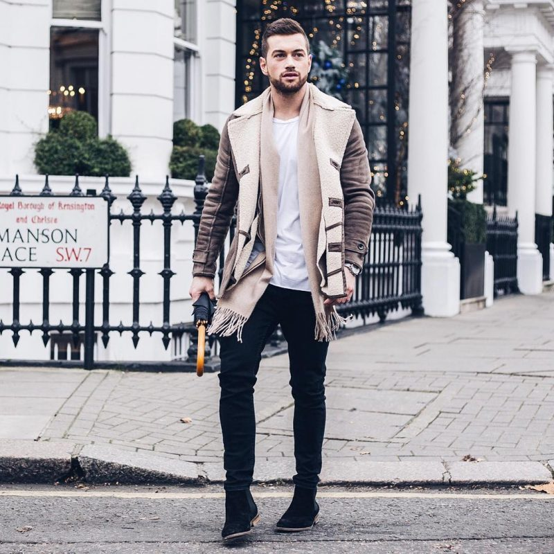 Distressed suede shearling jacket, scarf, white t-shirt, black jeans, Chelsea boots 1