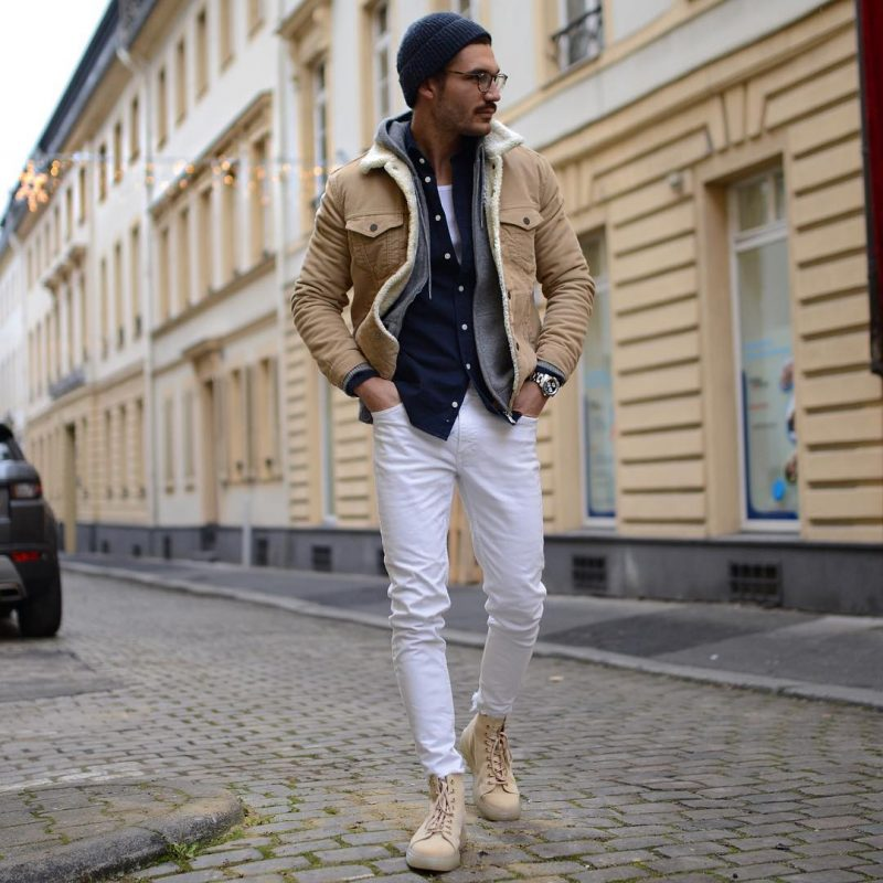 Beige shearling jacket, blue overshirt, hoodie, singlet, white chinos, boots 1