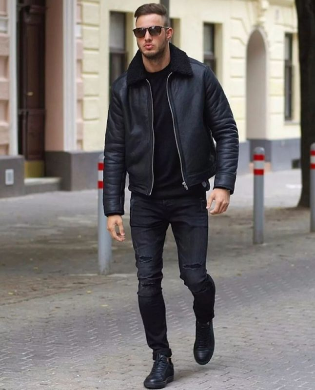 Shearling leather jacket, black t-shirt, black jeans, sneaker 1