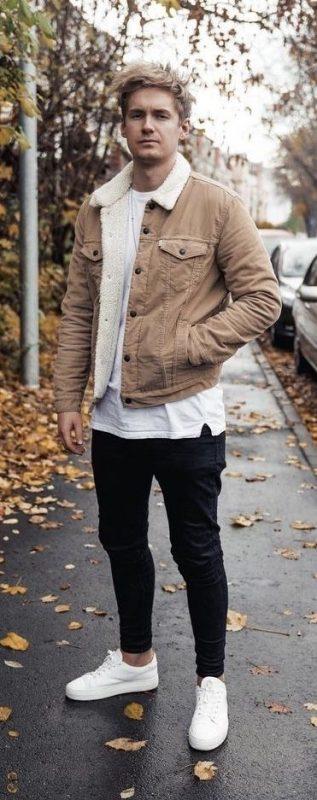 Shearling trucker jacket, white t-shirt, black jeans, white sneaker 1