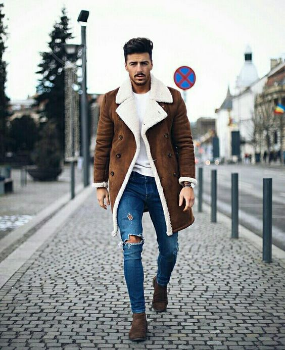 Suede shearling peacoat, white t-shirt, blue jeans, suede Chelsea boots 1