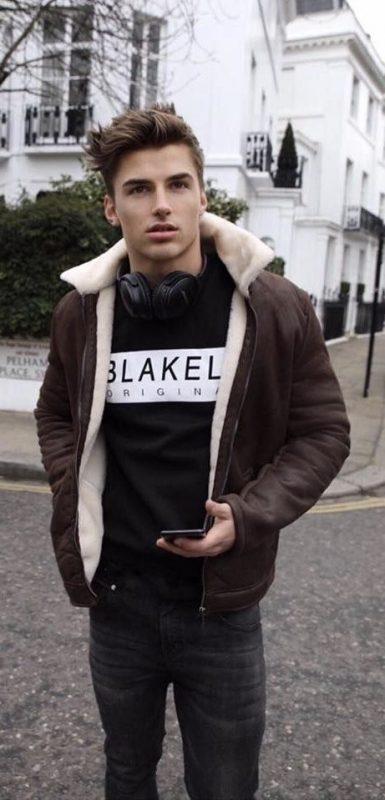 Shearling bomber jacket, black print t-shirt, black jeans 1