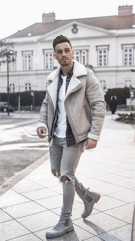 Sheepskin jacket, white t-shirt, checked shirt, jeans, Chelsea boots 1