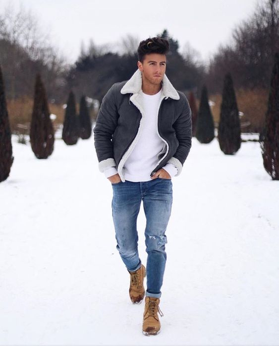 Shearling bomber jacker, white t-shirt, blue jeans, winter boots 1