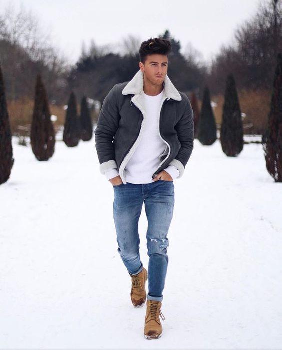 Shearling bomber jacker, white t-shirt, blue jeans, winter boots 1