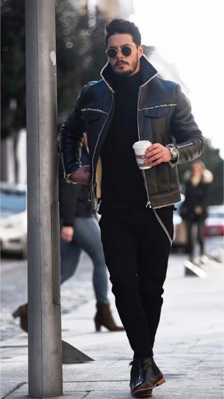 Fleece lined leather jacket, black sweater, jeans, leather Chelsea boots 1
