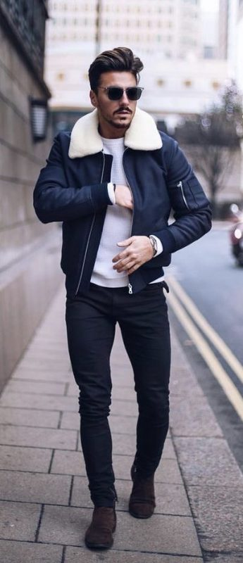 Shearling bomber jacket, white sweater, black jeans, suede boots 1