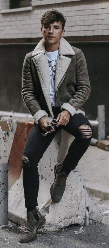 Distressed leather shearling coat, white t-shirt, black jeans, Chelsea boots 1