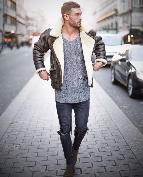 Brown distressed shearling coat, gray t-shirt, jeans, Chelsea boots 1
