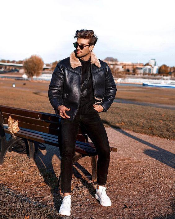 G1 leather bomber jacket, black t-shirt, jeans, white sneaker 1