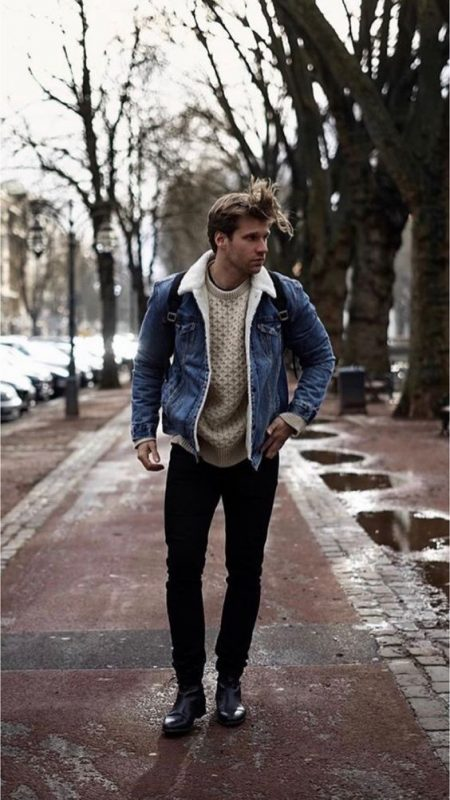 Denim shearling jacket, sweater, black jeans, black leather boots 1