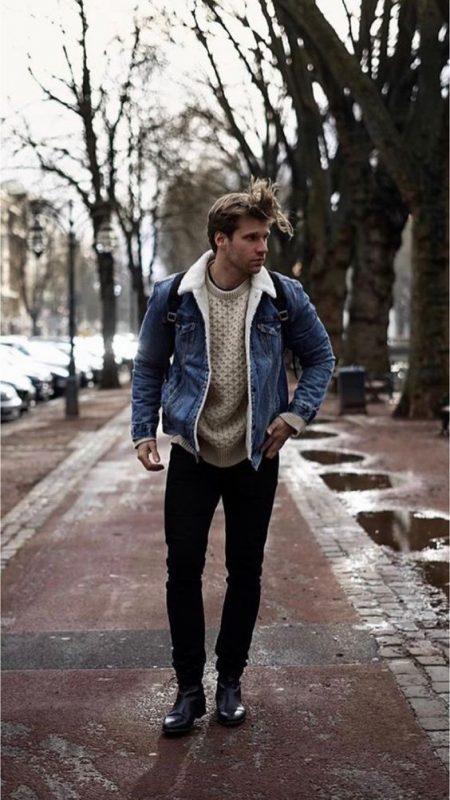 Denim shearling jacket, sweater, black jeans, black leather boots 1