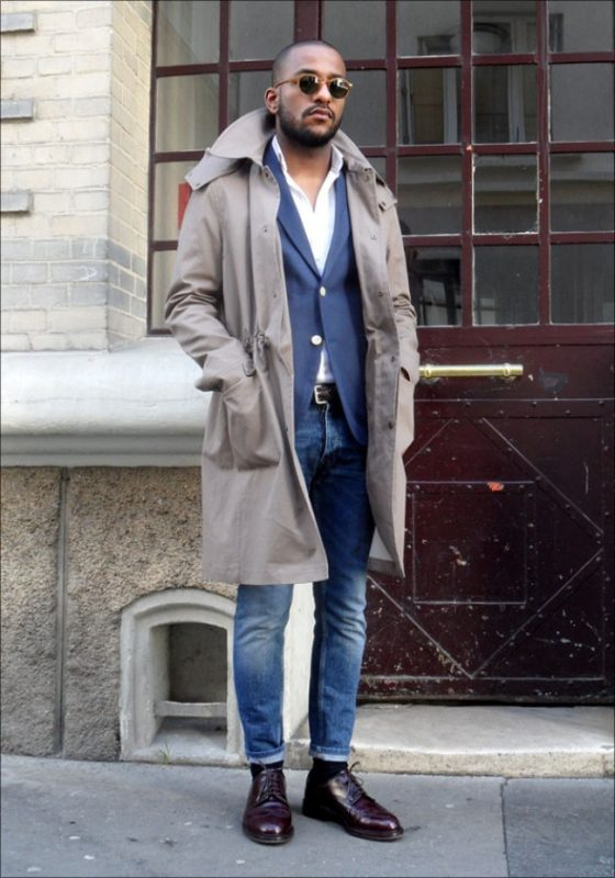 Taupe trench coat, blue blazer, jeans, white shirt, shades, dress shoes 1