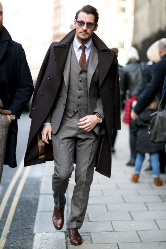 Black trench coat, grey suit, white shirt, brown tie, Oxford shoes 1
