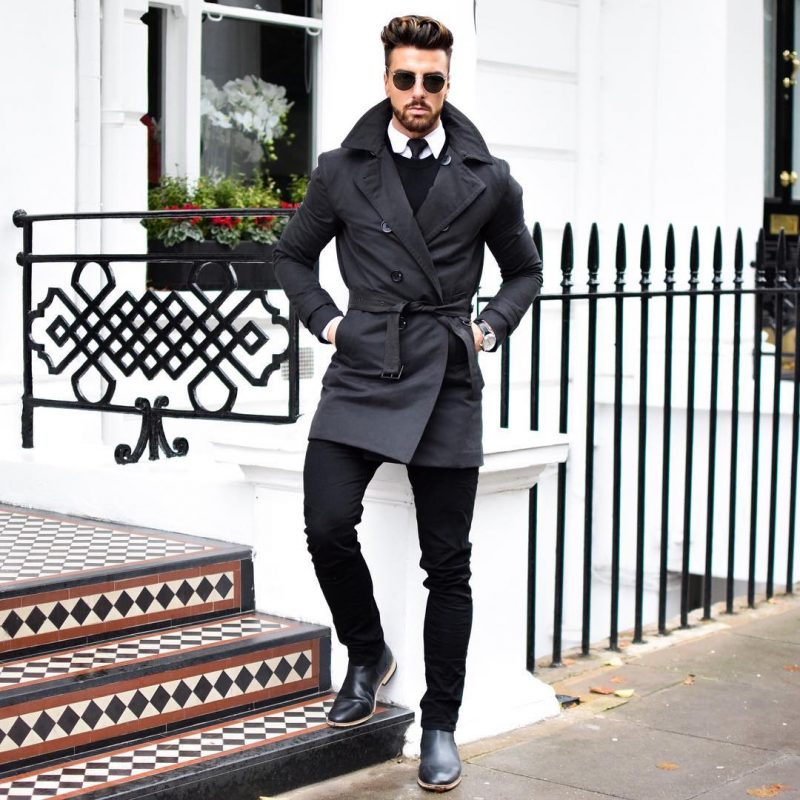 Black trench coat, black sweater, tie, jeans, white shirt, Chelsea boots 1