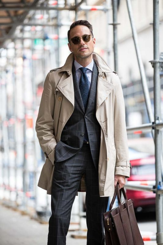 Beige trench coat, grey checked suit, white shirt, wool tie, shades 1