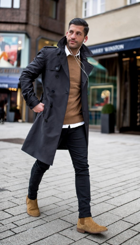 Black trench coat, jeans, brown sweater, white shirt, suede Chelsea boots 1