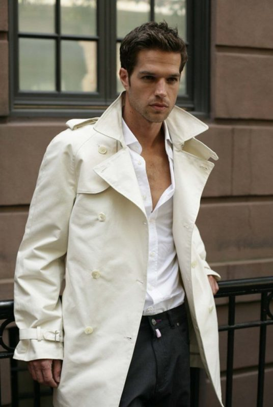 Beige trench coat, white shirt, black suit pants 1