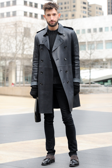 Black leather trench coat, sweater, black jeans, gloves, double monk straps shoes 1