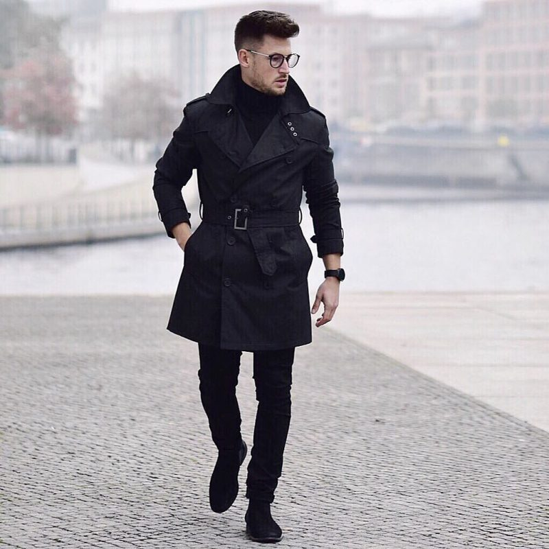 Black trench coat, turtleneck sweater, black jeans, suede boots 1