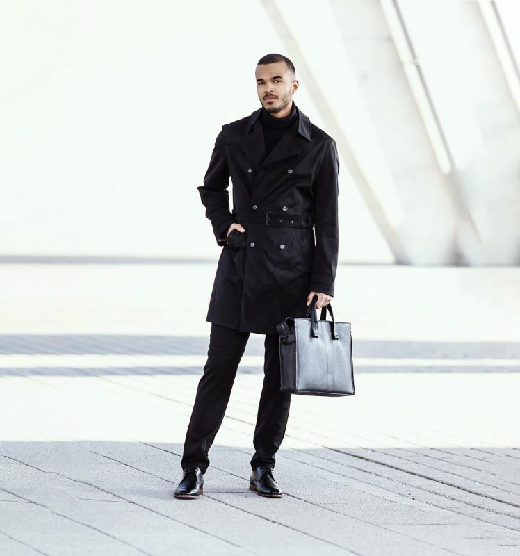 Black trench coat, turtleneck sweater, suit pants, leather shoes 1