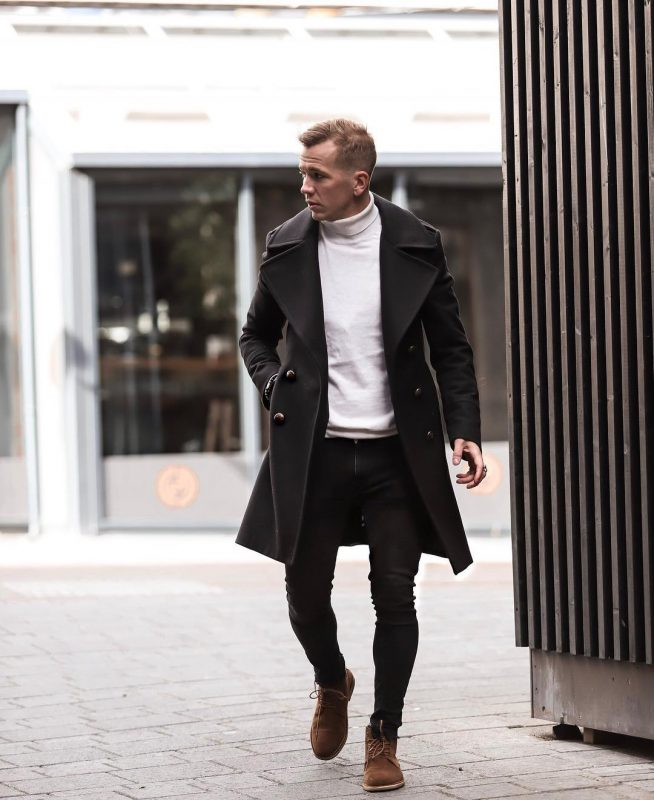 Black trench coat, white turtleneck sweater, black jeans, brown suede boots 1