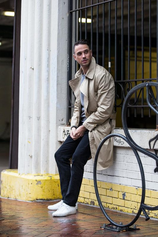 Beige trench coat, grey sweater, black jeans, white sneaker 1