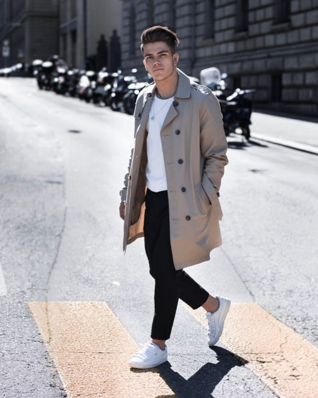 Smoke taupe trench coat, white t-shirt, suit pants, white sneaker 1
