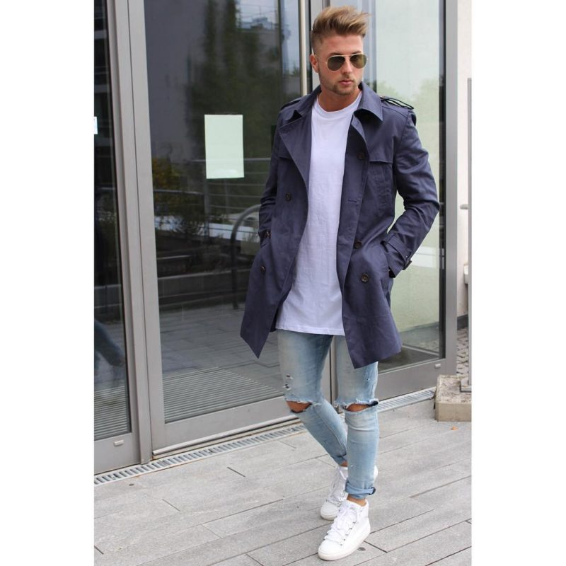 Purple trench coat, white t-shirt, blue ripped jeans, white sneaker 1
