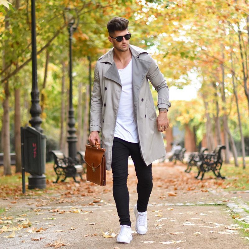 Beige trench coat, white t-shirt, jogger pants, white sneaker 1