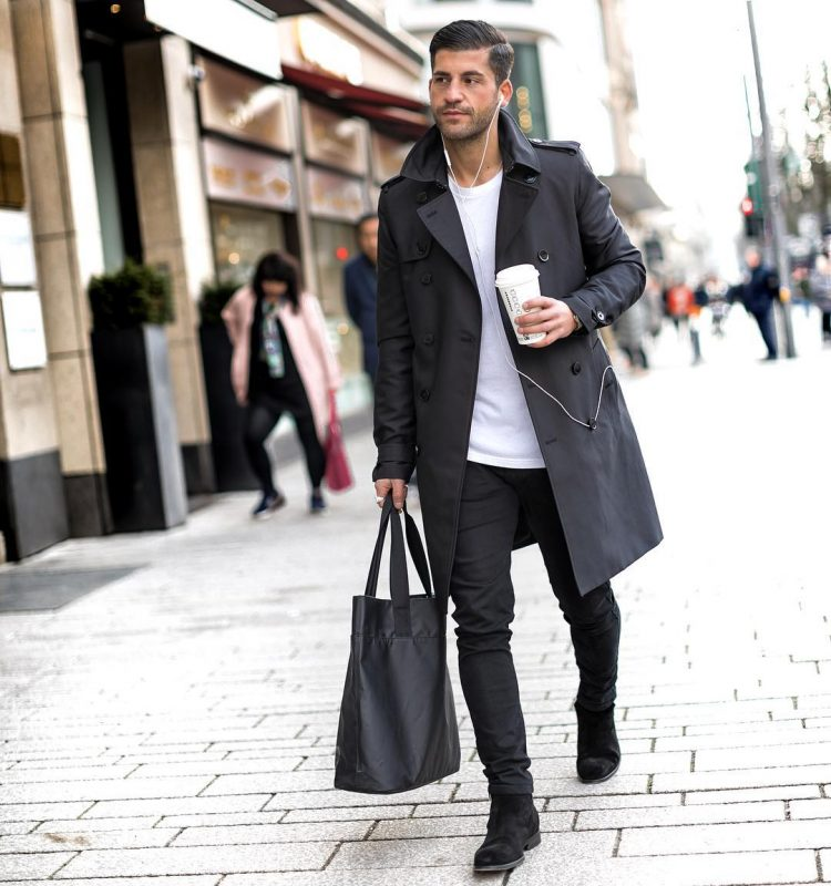 Black trench coat, white t-shirt, black jeans, suede boots 1