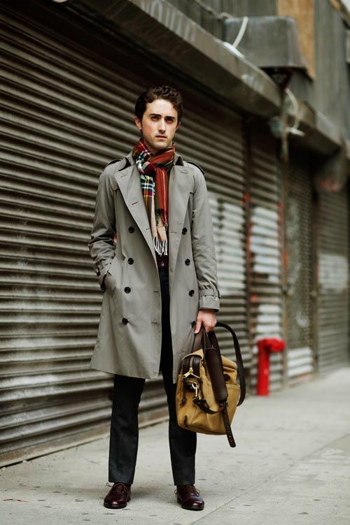 Grey trench coat, print scarf, suit pants, brown leather shoes 1