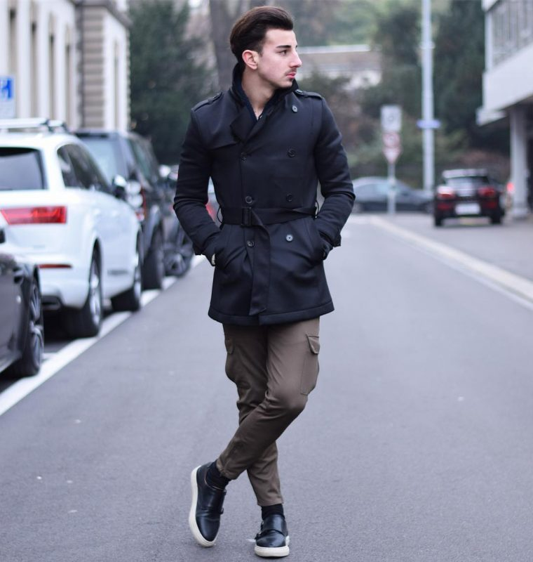 Black trench coat, brown cargo pants, double monk straps sneaker 1