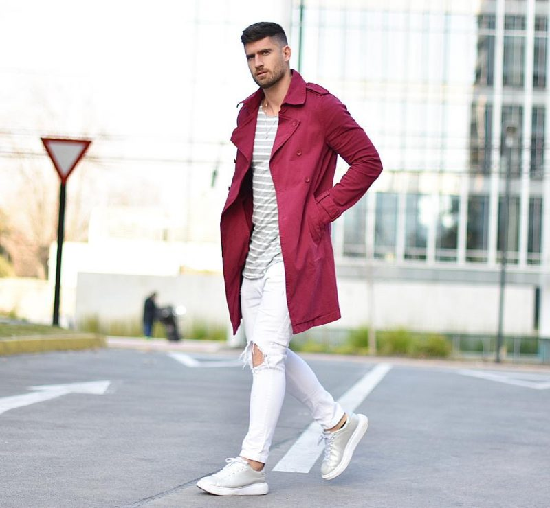 Maroon trench coat, pinstripe t-shirt, white jeans, grey sneaker 1