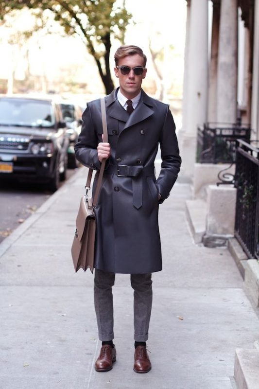 Black leather trench coat, white shirt, tie, wool suit pants, brown dress shoes 1