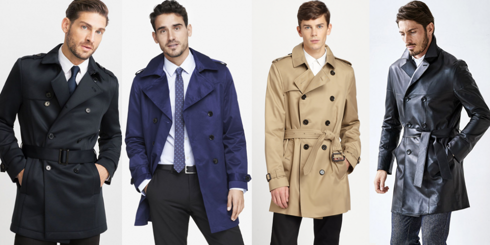 Cropped trench coat, short trench coat, blue trench coat, black leather trench coat