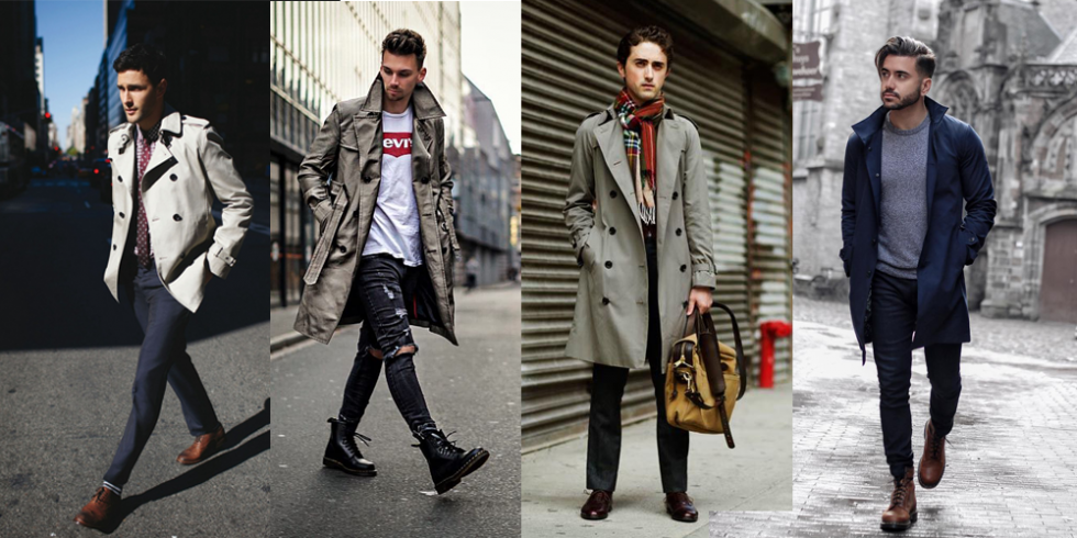 Casual trench coat outfit, sporty trench coat, trench coat street style ideas for men