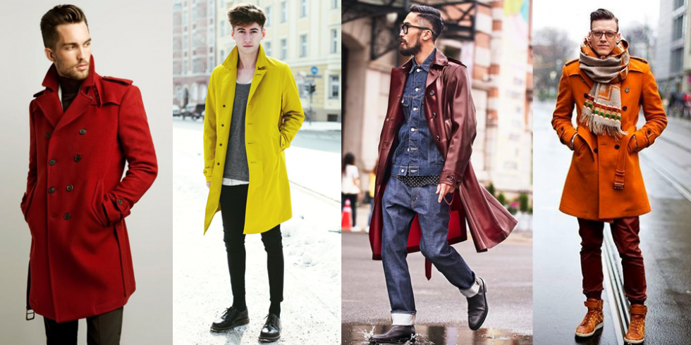 Red trench coat, yellow trench coat, burgundy trench coat, orange trench coat