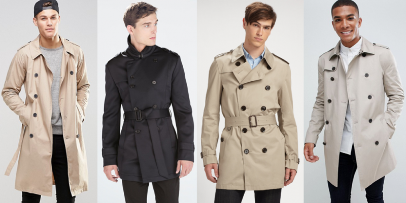 Double-breasted trench coat, beige trench coat, black trench jacket