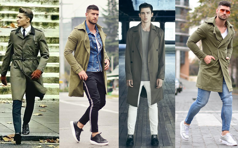 Military green trench coat, green trench coat, army trench coat, olive green trench coat