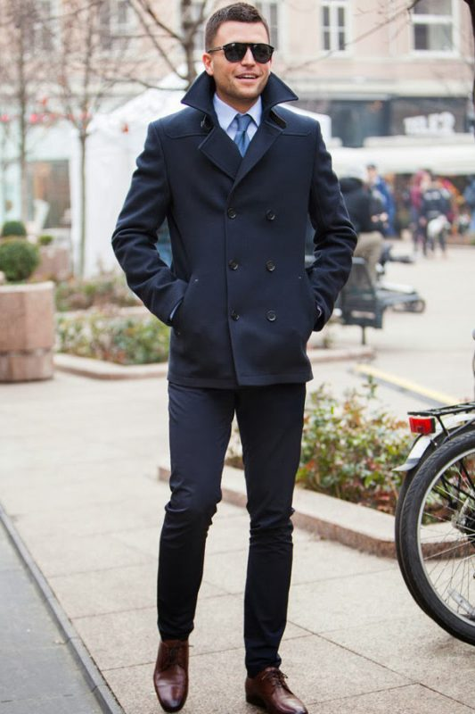 Navy peacoat with shirt and tie 1