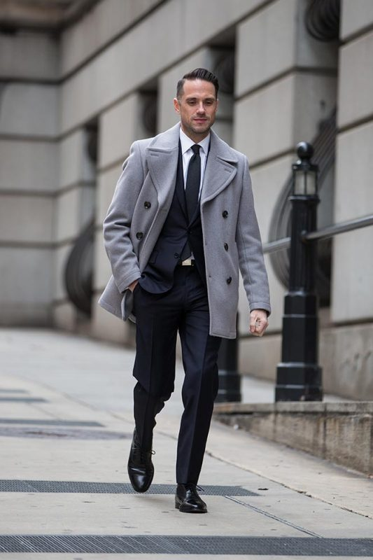 Gray peacoat with office suit 1