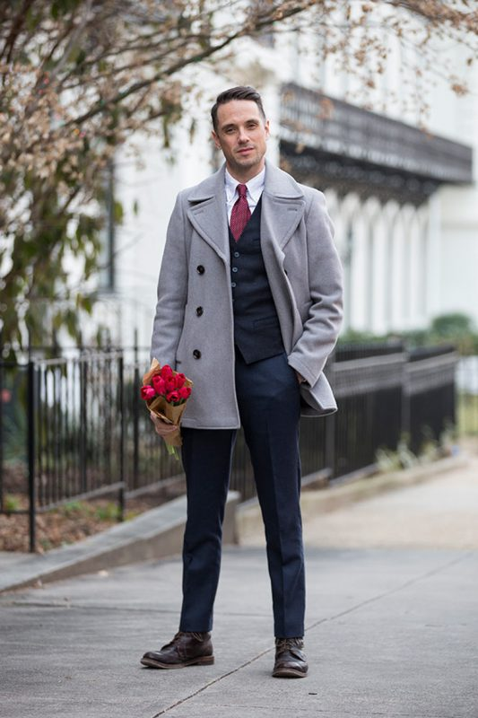 Gray peacoat with suit vest 1