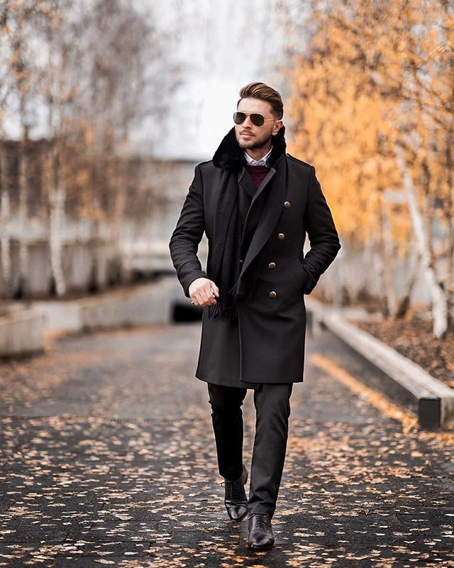 Black peacoat with white shirt, sweater 1