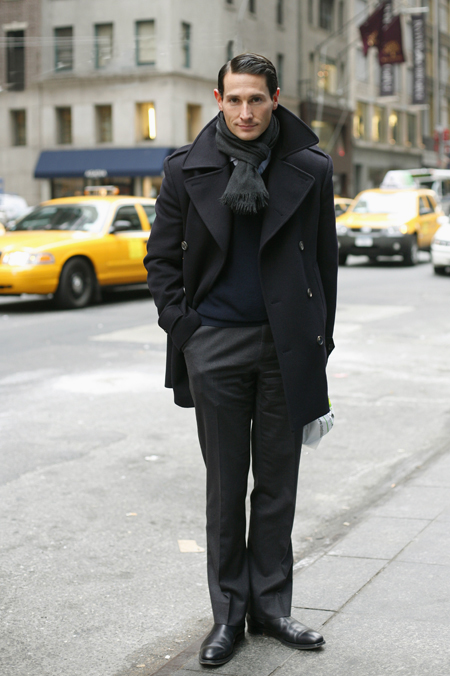 Black peacoat with shirt, sweater, scarf 1