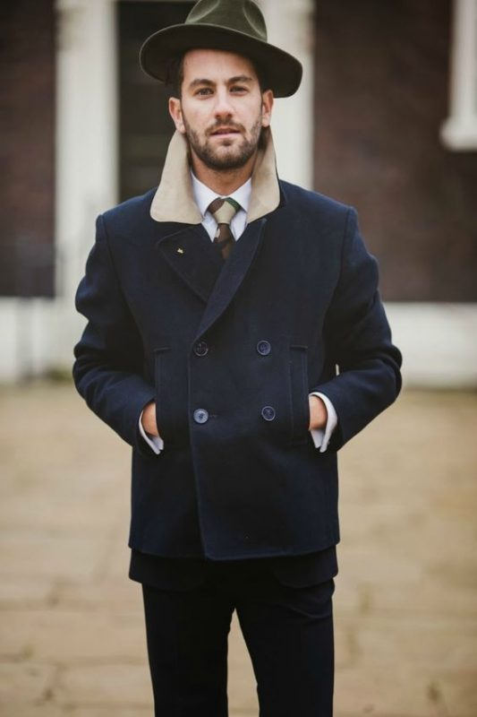 Navy peacoat with white shirt, tie 1