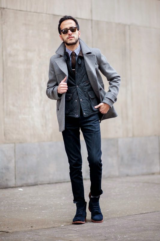 Gray peacoat, checked shirt, tie, jeans 1