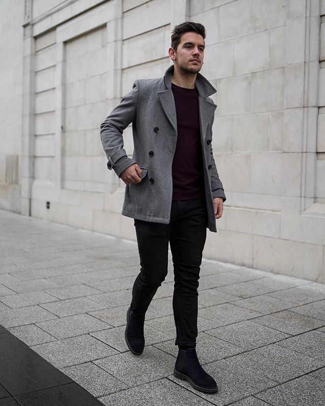Gray peacoat, black t-shirt, black jeans 1